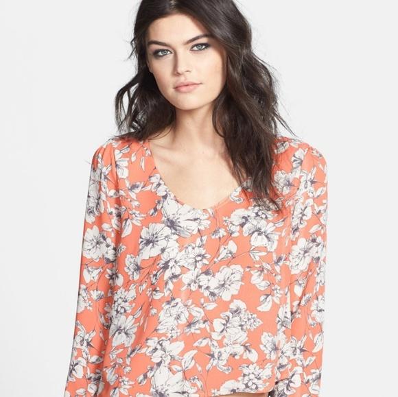 ASTR the label Womens Emmie Floral Print Cold Shoulder Top